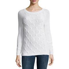 Liz Claiborne Long Sleeve Crew Neck Pullover Sweater-Talls