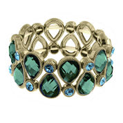 1928® Green and Blue Stone Gold-Tone Stretch Bracelet