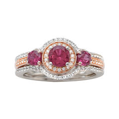 Genuine Rhodolite and 1/3 CT. T.W. Diamond 10K Rose Gold Ring