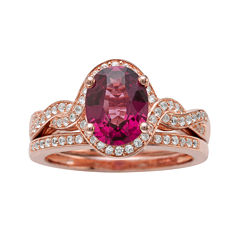 Genuine Rhodolite and 1/3 CT. T.W. Diamond 10K Rose Gold Ring Set