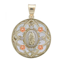 Rene Bargueiras® Crystal 14K Tri-Color Gold Our Lady of Guadalupe Pendant