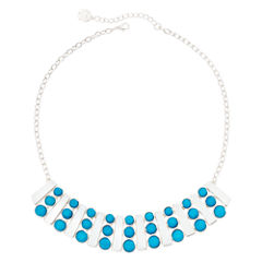 Liz Claiborne® Aqua Silver-Tone Collar Necklace