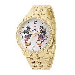 Disney Mickey and Minnie Womens Gold-Tone Cubic Zirconia Love Bracelet Watch