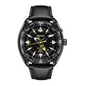 Seiko® Prospex Mens Black Leather Strap Kinetic GMT Chronograph Sport Watch SUN057