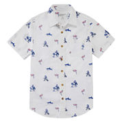 Arizona Boys Short Sleeve Button-Front Shirt Boys 8-20 and Husky