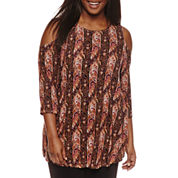 Freshman 3/4 Sleeve Cold Shoulder Top With Shirt Juniors Plus