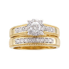 5/8 CT. T.W. Diamond 14K Two-Tone Gold Flower Milgrain Bridal Ring Set