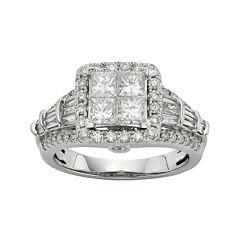 1½ CT. T.W. Diamond 10K White Gold Quad Princess Ring