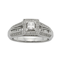 1/2 CT. T.W. Diamond 10K White Gold Princess-Cut Bridal Ring