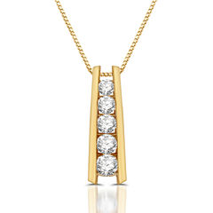 Womens 1 1/3 CT. T.W. White Diamond 10K Gold Pendant Necklace