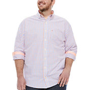 Izod Essential Poplin Button-Front Shirt-Big And Tall