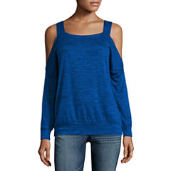 Wallpapher Long Sleeve Cold Shoulder Top