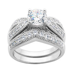 diamonart cubic zirconia sterling silver bridal ring set - Jcpenney Wedding Ring Sets