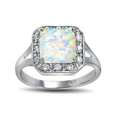 Lab-Created Opal and Cubic Zirconia-Accent Sterling Silver Square Halo Ring