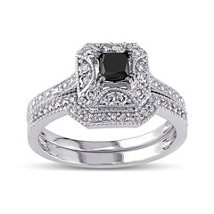Midnight Black Diamond 5/8 CT. T.W. White and Color-Enhanced Black Diamond 10K White Gold Vintage-Style Bridal Set
