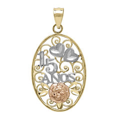 Tesoro™ 14K Tri-Color 15 Anos Quinceanera Flower and Hearts Filigree Pendant