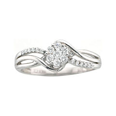 ¼ CT. T.W. Diamond Sterling Silver Cluster-Top Promise Ring