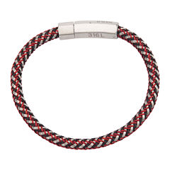 Inox® Jewelry Mens Stainless Steel & Multicolor Braided Leather Bracelet