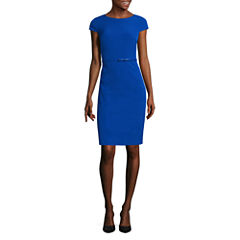 Alyx Cap Sleeve Belted Sheath Dress