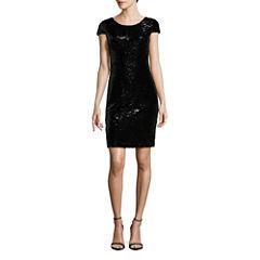 Renn Short Sleeve Sequin Sheath Dress