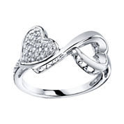 Love Grows™ 1/10 CT. T.W. Diamond Double Heart Ring