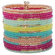Mixit Womens Multi Seed Bead Cuff Bracelet
