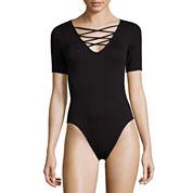 Decree Elbow Sleeve Lattice Front Bodysuit - Juniors