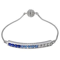 Sparkle Allure Womens Silver Over Brass Bolo Bracelet