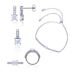 Sterling Silver Princess Cut Cubic Zirconia 4-pc Jewelry Set