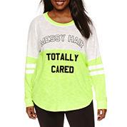 Flirtitude Plus Size Long Sleeve Drop Shoulder Graphic T-Shirt