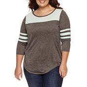 Arizona 3/4 Sleeve T-Shirt-Juniors Plus