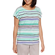 Alfred Dunner Mint To Be Short Sleeve Boat Neck T-Shirt