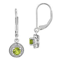 Diamond Accent Green Peridot Sterling Silver Drop Earrings