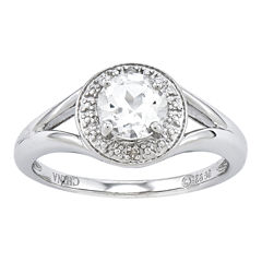 Womens Diamond Accent White Topaz Sterling Silver Halo Ring