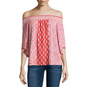 Trixxi Short Sleeve Rayon Shoulder Blouse-Juniors