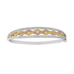1/4 CT. T.W. Diamond Tri-Tone Bangle Bracelet