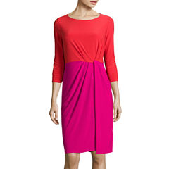 Black Label by Evan-Picone 3/4-Sleeve Colorblock Sheath Dress