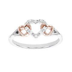 Lumastar Diamond Accent Two-Tone Sterling Silver Promise Ring