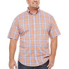 IZOD Short Sleeve Plaid Woven Shirt- Big & Tall