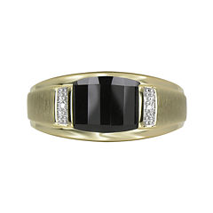 Mens Genuine Onyx & Diamond-Accent 10K Yellow Gold Ring