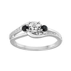 1/8 CT. T.W. Diamond and Genuine Blue Sapphire Bypass Promise Ring