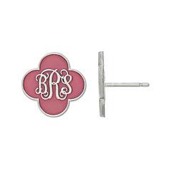 Personalized Sterling Silver 14mm Enamel Monogram Clover Stud Earrings