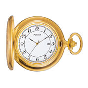 Pulsar® Mens Gold-Tone Stainless Steel Pocket Watch PXD198
