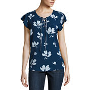 Liz Claiborne Short Flutter Sleeve Lace-Up T-Shirt