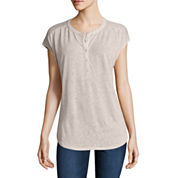 Liz Claiborne Short Sleeve Split Crew Neck T-Shirt