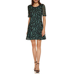 Tiana B Elbow Sleeve Paisley Lace Fit & Flare Dress-Petites