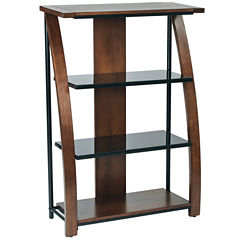 Emette Cherry Bookcase With Two Glass Shelves