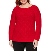 Liz Claiborne Long Sleeve Scoop Neck Pullover Sweater-Plus