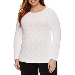 Liz Claiborne Long Sleeve Scoop Neck Pullover Sweater