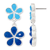 Liz Claiborne® Blue Stone Silver-Tone Double-Drop Earrings